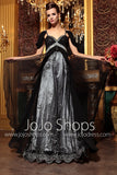 Black Empire Off Shoulder Formal Prom Evening Bridesmaid Gown DQ830765