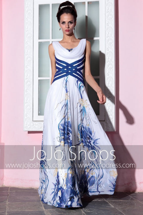 Blue and White V Neck Prom Formal Evening Gown DQ830791