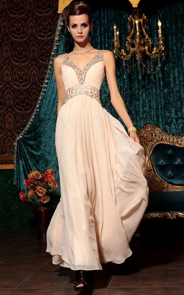 Peach Pink Grecian Long Chiffon Formal Prom Evening Pageant Dress | DQ830798
