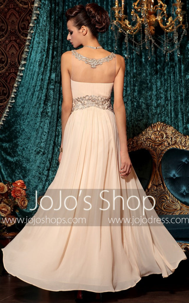Peach Pink Grecian Long Chiffon Formal Prom Evening Pageant Dress DQ830798