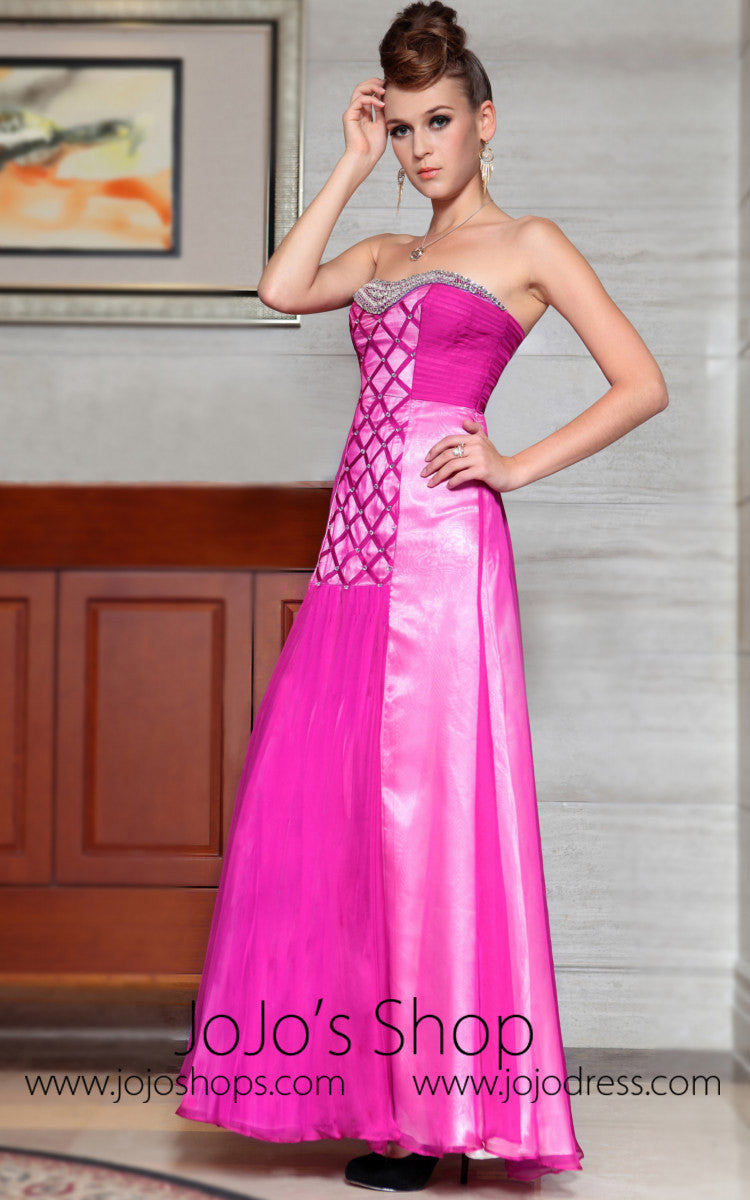 Strapless Jewled Pink Formal Prom Evening Dress