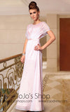 Modest Butterfly Sleeves White Formal Prom Evening Bridesmad Dress