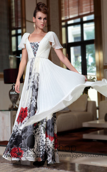 Butterfly Sleeve Prom Formal Evening Dress
