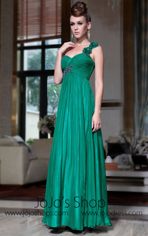 Grecian Green One Shoulder Empire Formal Prom Evening Dress