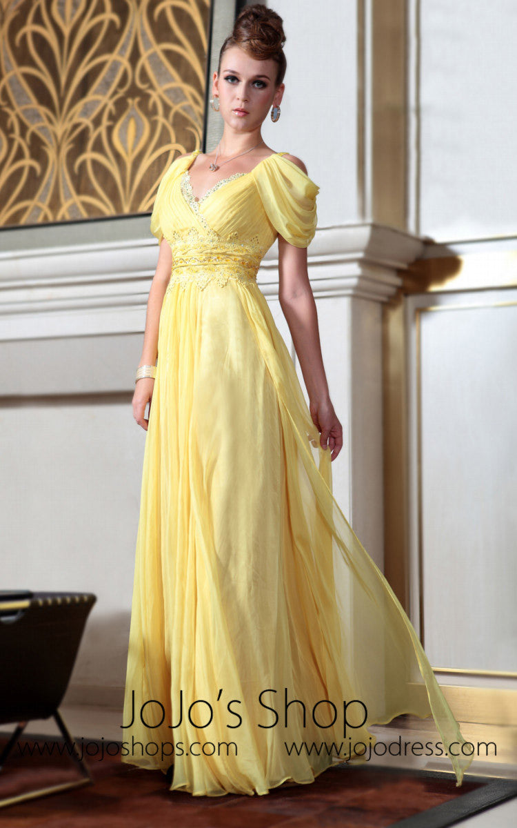 Yellow Regency Off Shoulder Prom Dress