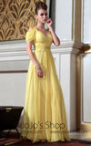 Yellow Empire Off Shoulder Evening Dress