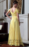 Yellow Empire Off Shoulder Formal Dress