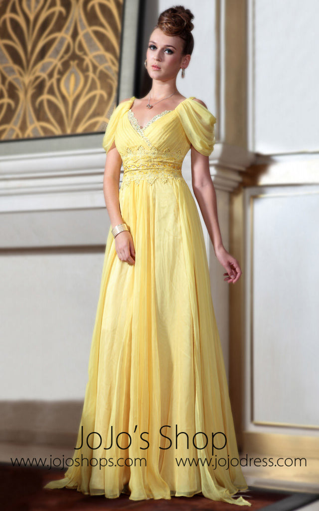 Yellow Regency Evening Gown