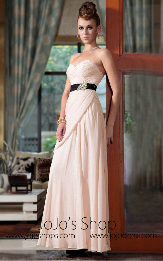 Beige Strapless Formal Prom Evening Dress