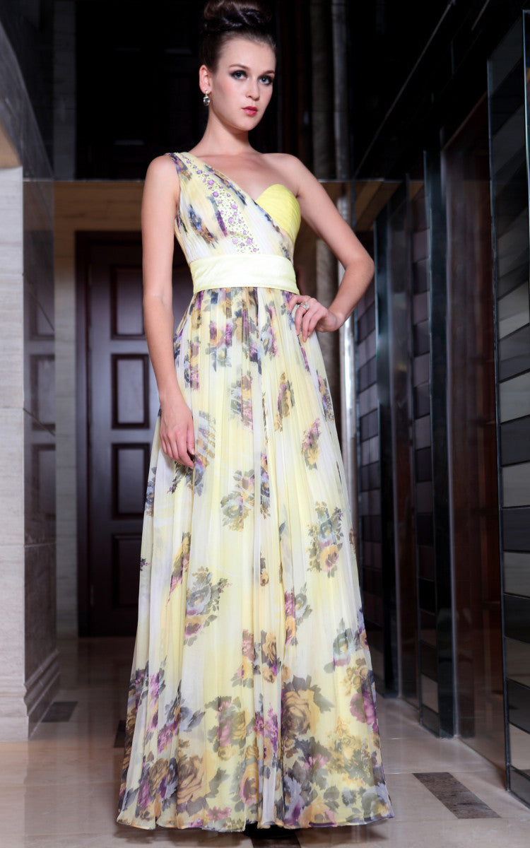 Yellow Multicolor Grecian One Shoulder Evening Dress Medium