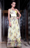 Yellow Multicolor Grecian One Shoulder Evening Dress