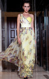 Grecian Yellow Multicolor Chiffon Prom Formal Evening Dress