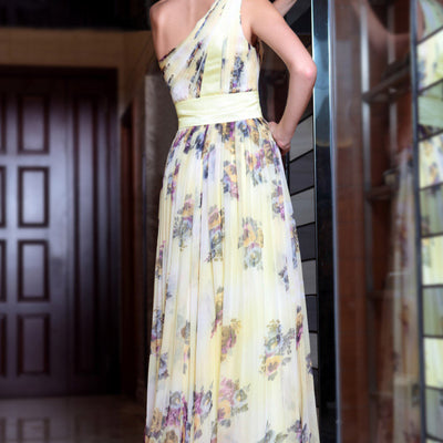 Grecian Yellow Multicolor Chiffon Prom Formal Evening Dress Backview