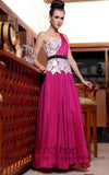 Pink One Shoulder Grecian Prom Evening Dress