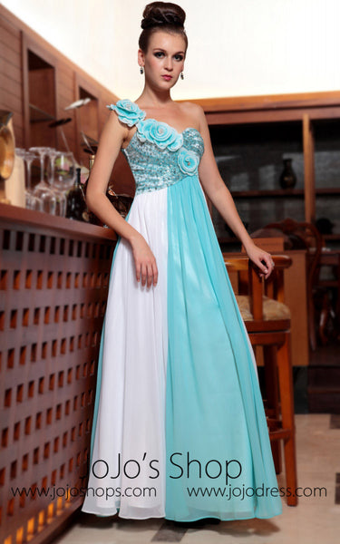 Turquoise and White One Shoulder Prom Formal Evening Dress