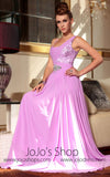 Pink V Neck Long Sleeve Evening Dress