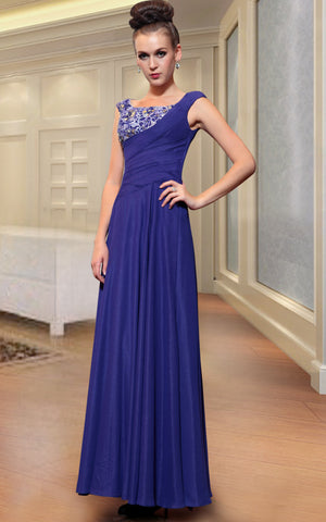 Dark Blue Jeweled Evening Prom Formal Dress