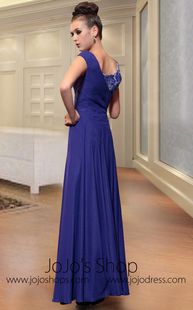 Purple Jeweled Evening Prom Formal Dress