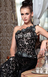 Classy Black Lace One Shoulder Evening Dress