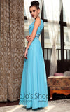 Blue V Neck Prom Formal Chiffon Evening Dress