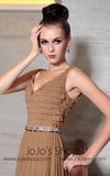 Brown V Neck Evening Dress