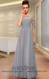 Gray Mid Sleeves Modest Evening Dress Front