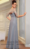 Gray Mid Sleeves Modest Evening Dress Back