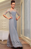 Gray Mid Sleeves Modest Evening Dress Runway