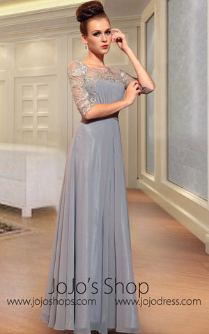 Gray Mid Sleeves Modest Evening Dress