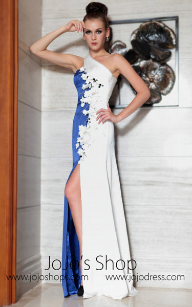 White and Blue Side Slit Sleek Prom Evening Dress