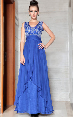 Blue Embroidered Scoop Neck Elegant Prom Evening Formal Dress DQ830875