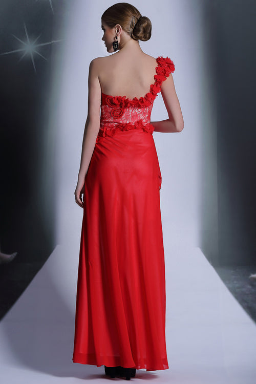 Grecian Red One Shoulder Formal Prom Evening Dress DQ831063