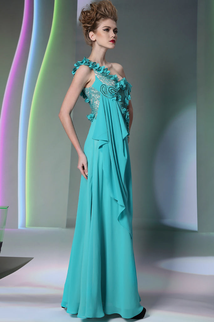 Turquiose Grecian One Shoulder Formal Prom Evening Dress DQ831063