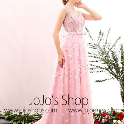 Grecian Petal Pink V Neck Formal Prom Evening Dress | X1604