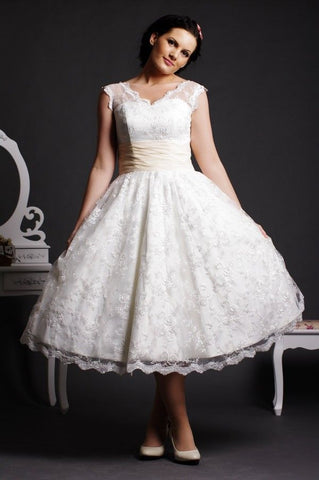 Retro 50s Tea Length Lace Wedding Dress with Cap Sleeves