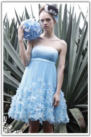 Daisy Blue Strapless Tulle Cocktail Bridesmaid Dress