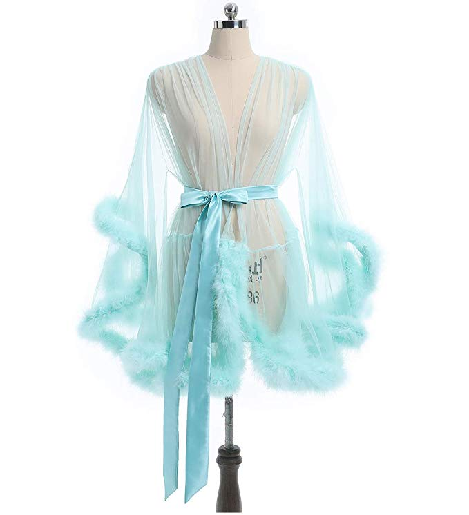 Short Green Marabou Fur Edge Robe RB1332