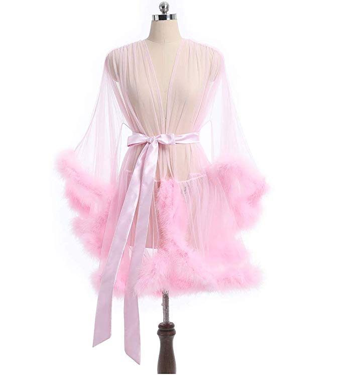 Short Blush Pink Marabou Fur Edge Robe RB1332