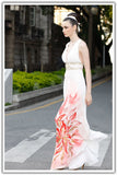 Grecian Ivory Formal Dress with Hand Painted Flower SA55810