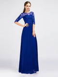 Royal Blue Modest Lace Formal Prom Evening Dress with Sleeves