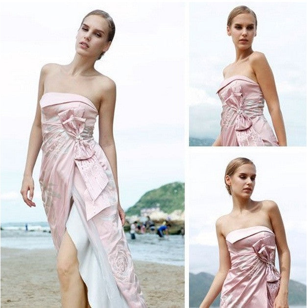 Pink Side Slit Strapless with Bow SA80102