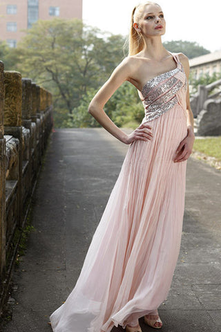 Blush Pink Grecian One Shoulder Prom Dress SA80168 X-Large