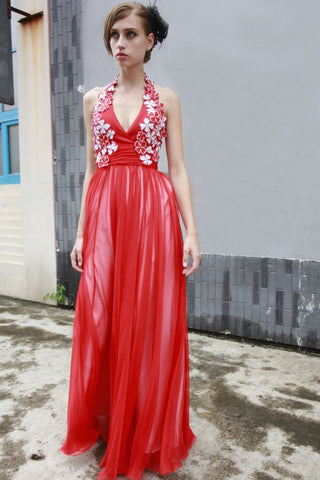 Red Grecian Halter Long Formal Prom Evening Dress | CX80519