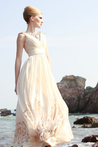 Grecian Champagne Modest Prom Pageant Evening Gown SA880599