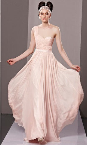 Blush Pink Grecian One Shoulder Prom Formal Evening Dress CX881308