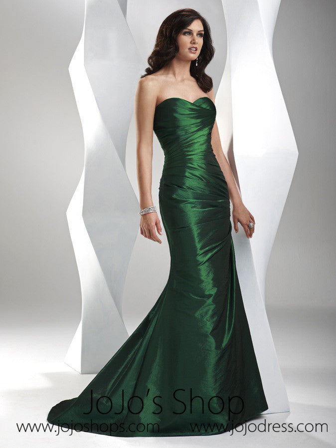 Forest Green Sweetheart Fit And Flare A Line Formal Prom