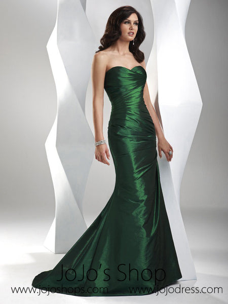 Forest Green Sweetheart Fit and Flare A-line Formal Prom Evening Dress