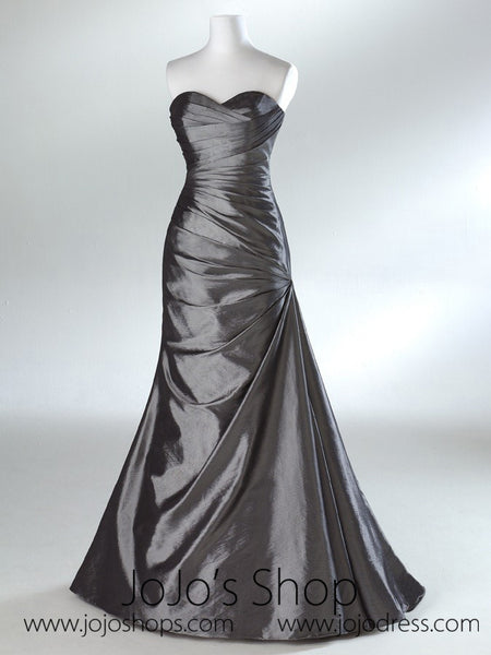 Silver Gray Sweetheart Fit and Flare A-line Formal Prom Evening Dress HA2011C