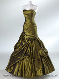 Green Pleated Strapless Fit And Flare Formal Prom Evening Dress HB2012A