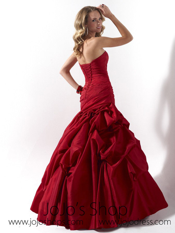 Red Ruched Strapless Fit And Flare Formal Evening Dress HB2012C